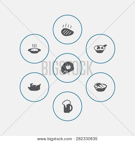 Set Of 7 Eat Icons Set. Collection Of Octopus Soup, Beer, Beefsteak And Other Elements.
