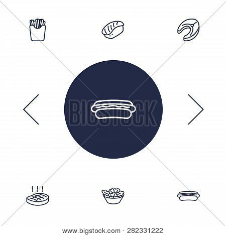 Set Of 6 Eat Icons Line Style Set. Collection Of Potato, Sausage, Beefsteak And Other Elements.