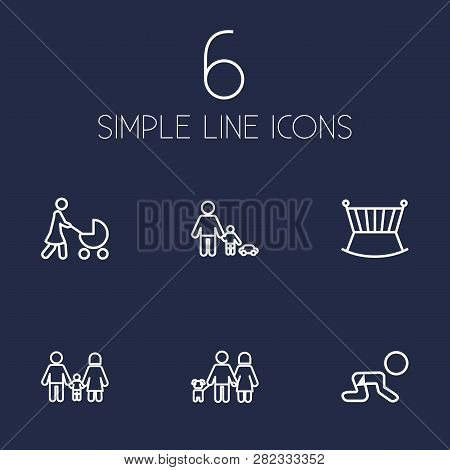 Set Of 6 People Icons Line Style Set. Collection Of Perambulator, Cot, Creep Baby And Other Elements
