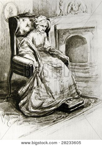 Old sick woman sitting in a chair - llustration by M. Shcheglov,