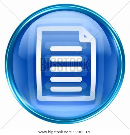 Document icon blue isolated on white background poster