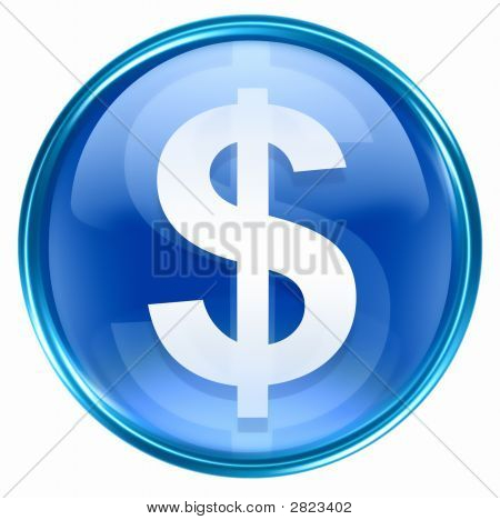 Button Dollar Icon Blue