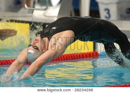 BARCELONA, SPAIN - JUNE. 7: English 50 m backstroke recordman Liam Tancock swims Backstroke during the Mare Nostrum meeting in Barcelona's Sant Andreu club, June 7, 2009 in Barcelona, Spain.