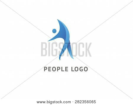 Active Man Icon. Vector Flat Modern Logotype Design Speech Bubble And People. Dance Studio Logo Desi