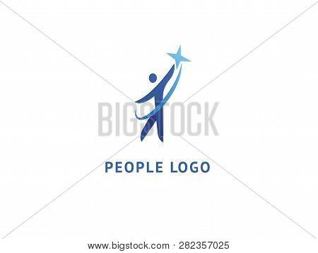 Abstract Success Logo Vector Design. Winner, Star Man, Celebrity, Business, Active Lifestyle, Team W