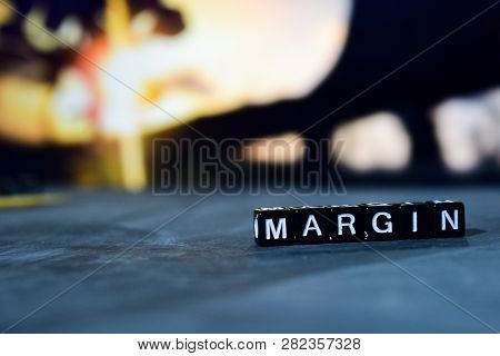 Margin On Wooden Blocks. Cross Processed Image With Bokeh Background
