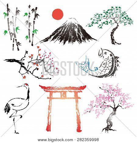 Set Of Japanese Style Brushes Design Elements And Ink Symbol