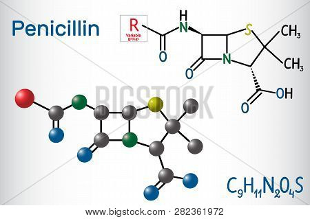 General Formula Of Penicillin (pcn) Molecule. It Is A Group Of Antibiotics. Structural Chemical Form