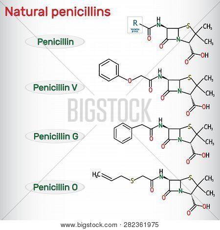 Natural Penicillins Antibiotic Drug Molecule. Benzylpenicillin , Phenoxymethylpenicillin, Almecillin