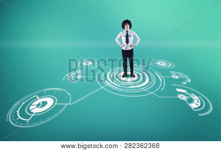 Businessman Standing In The Middle Of A Network .