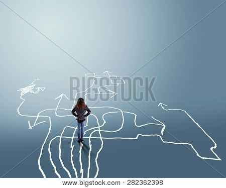 Confused Woman Stands In Front Of Different Arrows . The Concept Of Hard Choices.