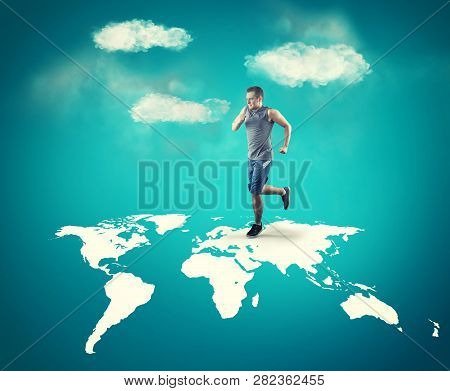 The Young Man Running Across The World Map.
