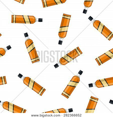 Bottle Of Bourbon Whiskey. Whiskey Alcohol Drink. Seamless Repeat Pattern Background Vector Illustra