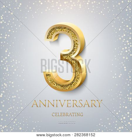 3rd Anniversary Celebrating Golden Text And Confetti On Light Blue Background. Vector Celebration 3