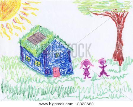 Crayon Drawing Of Environmental Home