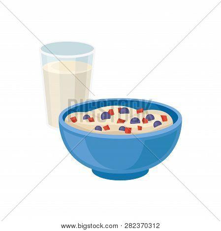 Glass Of Fresh Milk And Blue Bowl Of Tasty Semolina Porridge. Healthy Breakfast. Food And Drink. Fla