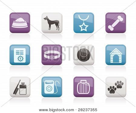 dog accessory and symbols icons - vector icon set poster