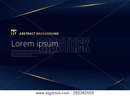 Abstract Template Dark Blue Luxury Premium Background With Luxury Triangles Pattern And Gold Lightin