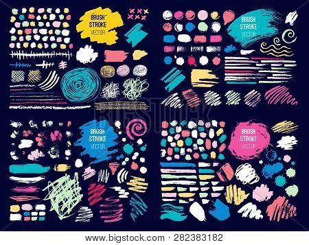 Set Stroke Spot Blod. Brush, Pen, Marker, Chalk. Color Pastel. Vector Distressed Grunge Modern Textu