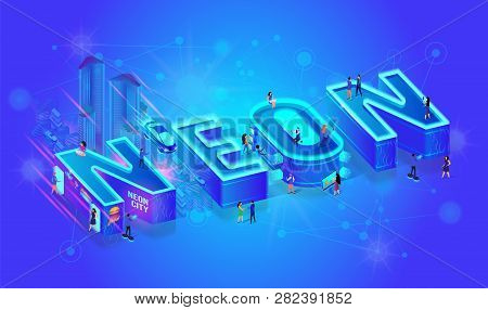 Vector 3d Isometric Word Neon Blue Ultramarine Color Effect. Little City People Walk At Big Letters