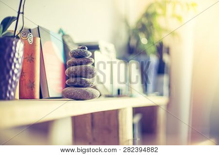 Feng Shui: Stone Cairn In The Living Room, Balance And Relaxation
