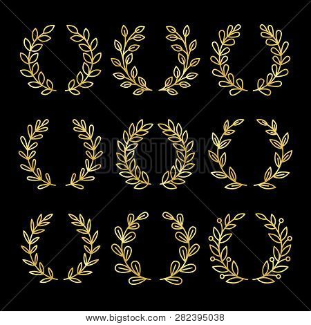 Gold Wreaths. Linear Wreath Set With Golden Leaves Isolated On Black Background, Floral Winner Frame