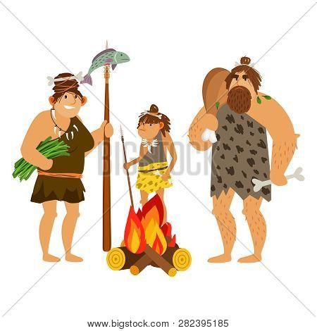 Cartoon Cavemen Family. Caveman Characters Prepare Food At Fire, Stone Age Prehistoric Family Vector