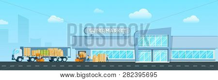 Express Truck Delivering Goods To Supermarket. Warehouse Delivery Freight, Box To Modern Glass City