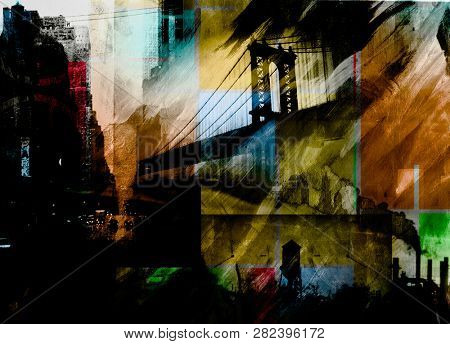 Manhattan bridge. Dramatic painting in dark colors. 3D rendering
