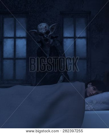Night hag,Folklore story,Teenage girl with sleeping paralysis,girl being visit or immobilizes by a demonic,3d rendering poster