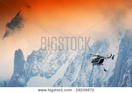Mountain rescue action, Haute Savoie, France