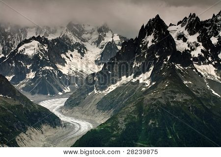 Mer de Glace and Les Grandes Jorasses