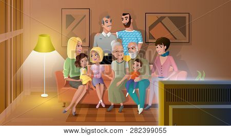 Tree Generations Of Big Family Gathered At Home, Spending Time Together, Watching Evening Tv Show Wh