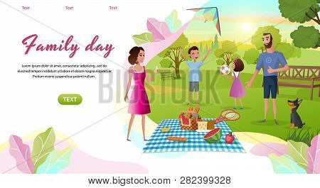 Family Day Cartoon Vector Horizontal Web Banner With Happy Parents Resting Together In Park, Childre