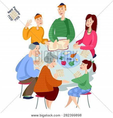 Jewish Family Celebrates Passover. Reading Of The Passover Haggadah. Vector Illustration