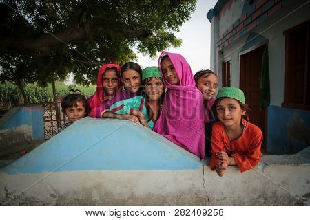 Village Kids Girls Smiling And Standing In A Mosque In Moro Sindh, Pakistan 28/08/2017