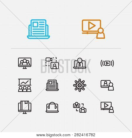 Webinar Icons Set. Education E-learning And Webinar Icons With Stream Vlog, Video Stream And Video I