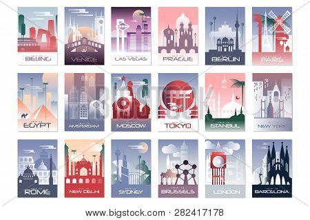 City Cards Set, Landscape Template Of Flyer, Poster, Book Cover, Banner, Berlin, Paris, Tokyo, Istan