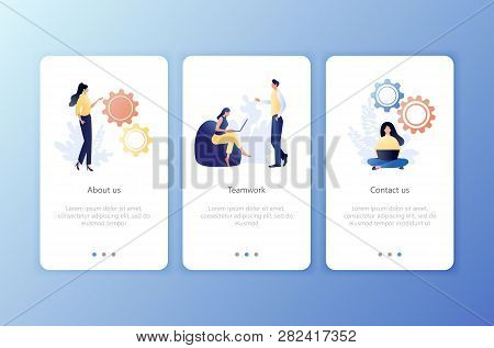 Teamwork, About Us, Contact Us. Set Of Onboarding Screens User Interface Kit. Mobile Application Tem