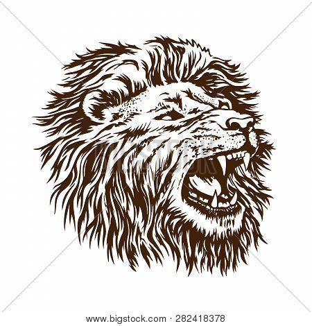 Sketch Vector Lion Head. The Grin Of The Open Mouth Of The Beast Is Isolated On A White Background.