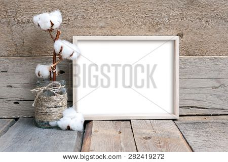 8x10 Horizontal Thin Box Frame On A Wooden Table, Rustic Style, Wooden Background, Frame Mockup