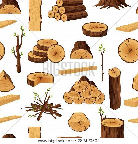Seamless Pattern Of Firewood Materials, Rerepeating Background With Wooden Elements. Wood Logs Stubs