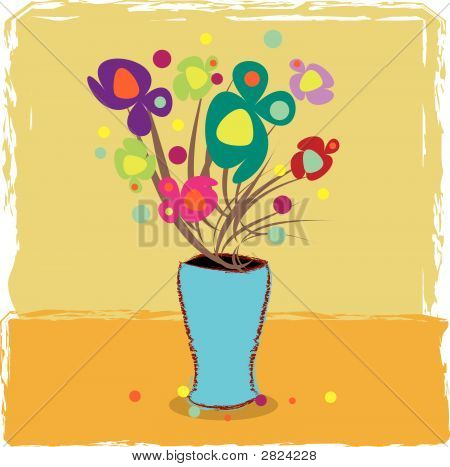 Vector Grunge Vase Greeting Card