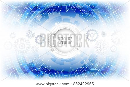 Futuristic Circle Elements Background. Abstract Circuit Technology Concept. Hi-tech Computer Technol