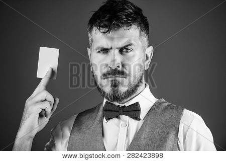 Which Bank Credit Card Easy To Get. Man Bearded Hipster Hold Plastic Blank Card Blue Background. Tak