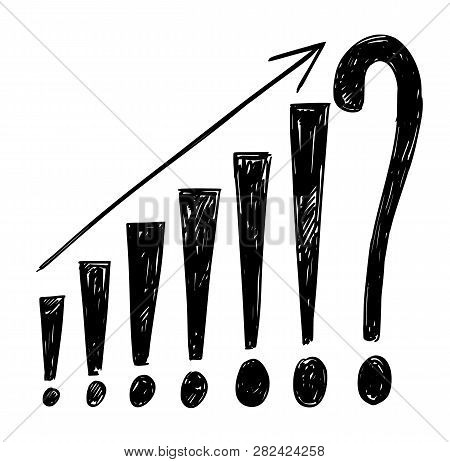 Artistic Drawing Of Growing Financial Graph Or Chart Made From Exclamation Points And Ending By Ques
