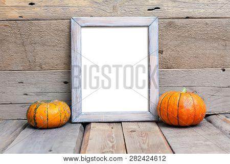 8x10 Vertical Frame Mock-up, Halloween Styled Frame, Rustic Wooden Mockup