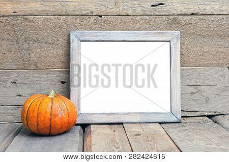 8x10 Horizontal Frame Mock-up, Halloween Styled Frame, Rustic Wooden Mockup