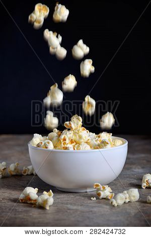 Homemade Popcorn On Wooden Table, Close Up