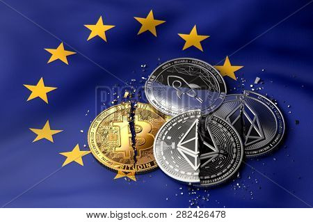 Stack Of Broken Or Cracked Cryptocurrency Coins On United Europe Flag. Situation Of Cryptocurrencies